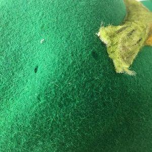Vintage Accessories - Vintage 60s 70s Green Wool Floppy Hat Bird Boho